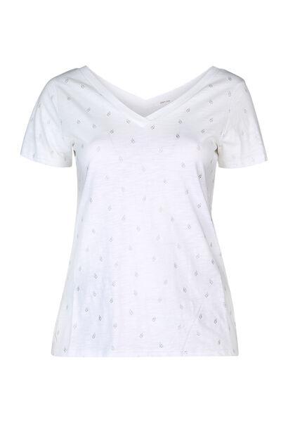 T-shirt imprimé feuilles - Ecru