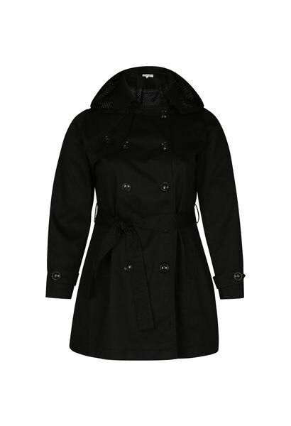 Trench en coton capuche amovible - Noir