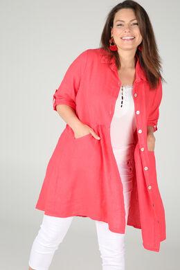 Robe chemise en lin, Corail