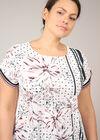 T-shirt effet satiné imprimé pois et fleurs, Rose