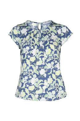 T-shirt maille froide imprimé gomme fleurs et feuilles, Vert Olive