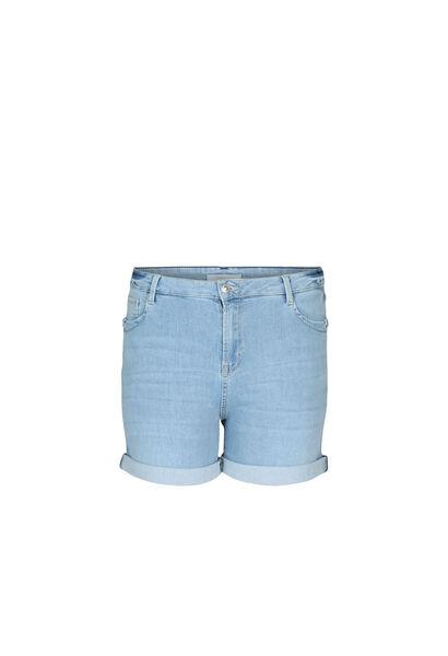 Short en jeans détail d'œillets - Denim clair