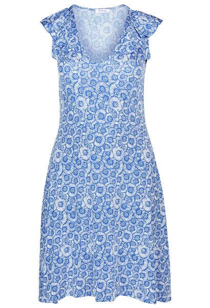 Robe en maille froide imprimé gomme fleuri - Bleu Bic