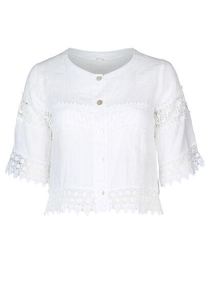 Cardigan court en lin brodée - Blanc