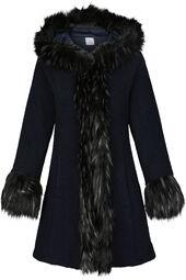 Manteau fausse fourrure avec capuche