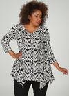 Tunique t-shirt imprimé gomme géométrique, Noir