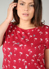 T-shirt coton imprimé palmiers, Rouge