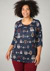 Tunique T-shirt maille chaude imprimé hiboux, Marine