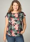 T-shirt effet satiné imprimé tropical, multicolor