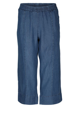Pantacourt large en lyocel jeans, Denim