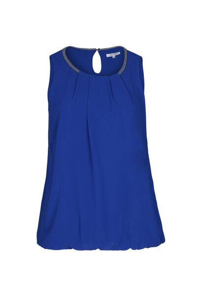 Blouse sans manches encolure perlée - Bleu Bic