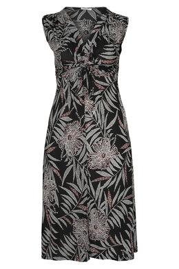 Robe longue imprimé gomme feuilles de palmiers, Noir