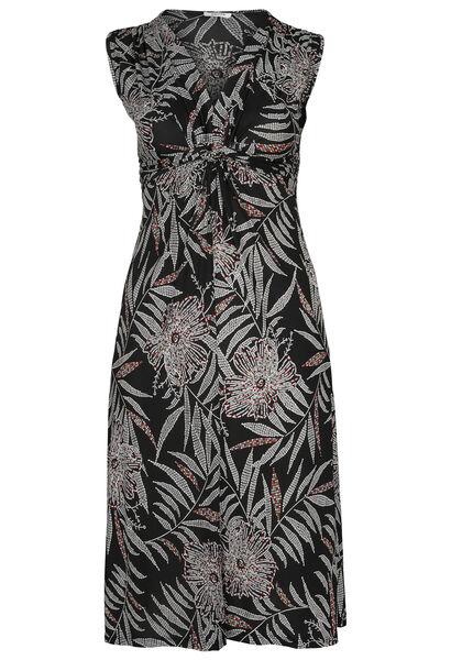 Robe longue imprimé gomme feuilles de palmiers - Noir