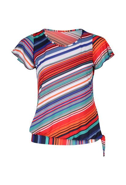 T-shirt maille imprimé rayures - multicolor