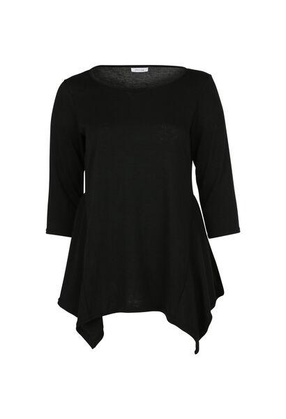 T-shirt tunique en maille chaude - Noir