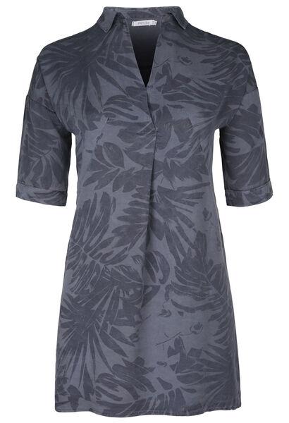 Robe tunique en lyocel imprimé tropical - Marine