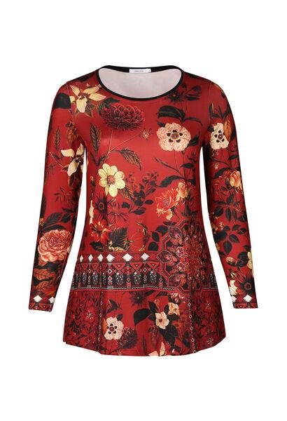 Tunique t-shirt imprimé grandes fleurs - Brique