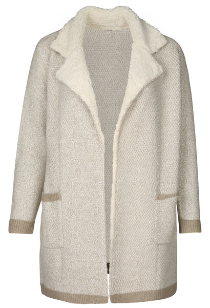 Cardigan long col teddy - Beige