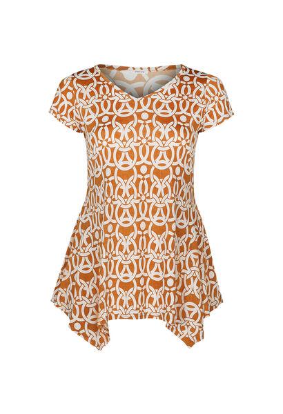 Tunique t-shirt maille froide imprimé gomme - Ocre