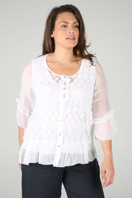 Blouse manches 3/4 broderies, Blanc