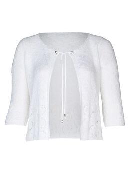 Cardigan motifs ajourés manches 3/4, Blanc