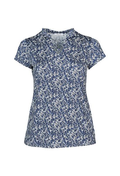 T-shirt maille froide imprimé petites fleurs - Indigo