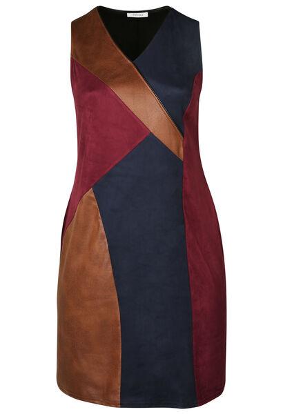 Robe patch faux cuir et suédine - Prune