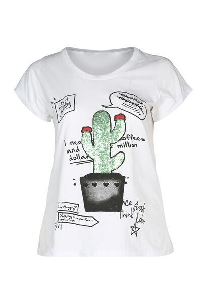 T-shirt imprimé cactus et sequins - Blanc