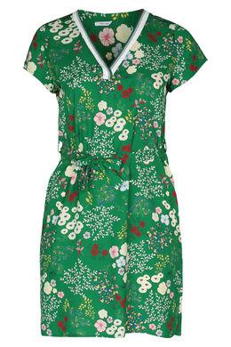 Robe tunique imprimée fleurs, Vert