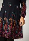 Robe imprimé fleuri col boule, multicolor