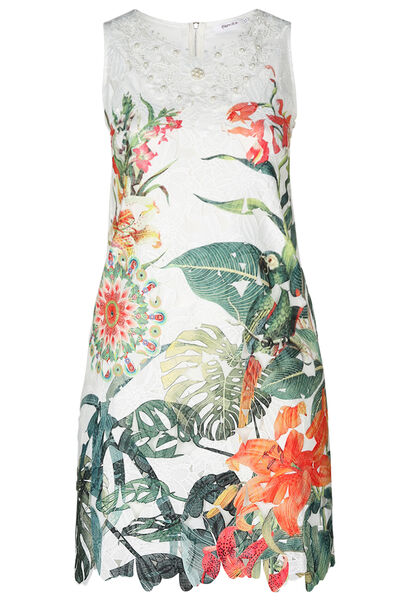 Robe dentelle imprimé tropical - multicolor