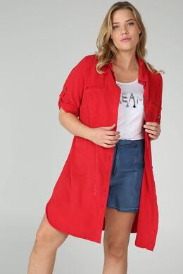 Robe col chemise en lyocel, Rouge