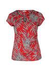 T-shirt maille froide imprimé feuilles, Rouge