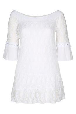 T-shirt tunique en résille brodée et crêpe, Blanc