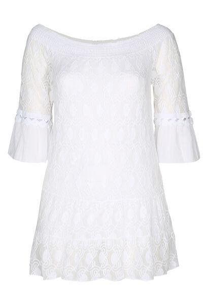 Tunique t-shirt en résille brodée et crêpe - Blanc
