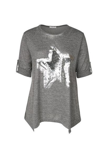 Tunique t-shirt imprimé étoile en sequins - Anthracite