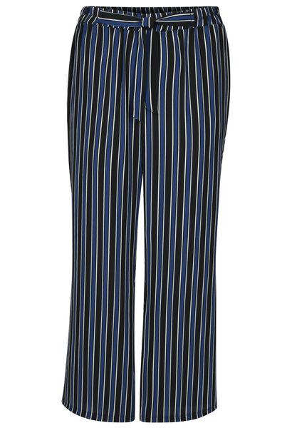 Pantalon large imprimé rayures - Noir