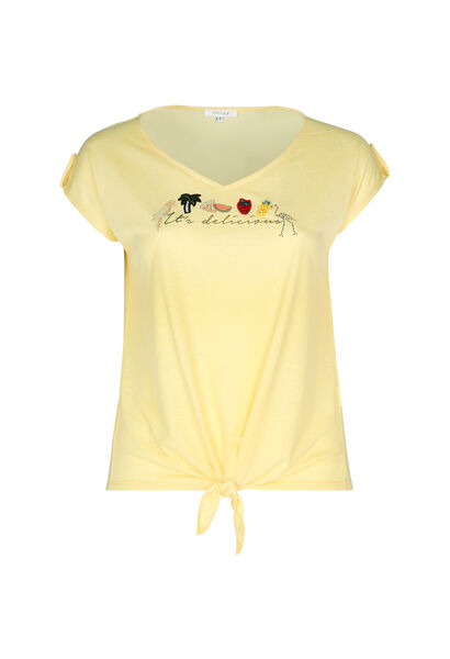 "T-shirt ""It's delicious"" avec broderies - Jaune"