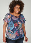T-shirt maille lin imprimé géométrique, multicolor