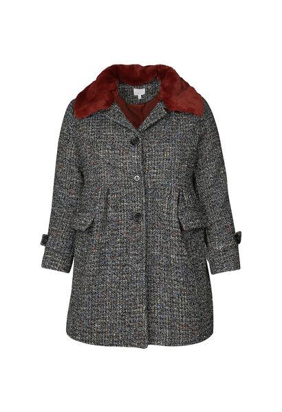 Manteau col fausse fourrure - multicolor