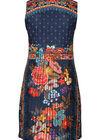 Robe plissée imprimé fleurs, multicolor