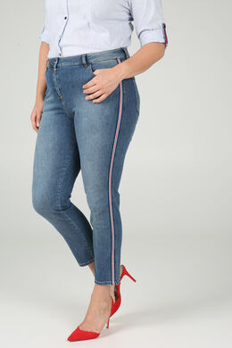 Jeans 7/8 bandes lurex, Denim