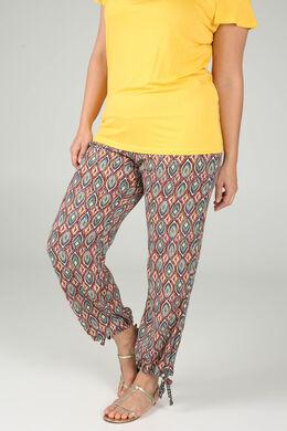 Pantalon en fibranne imprimé ethnique, multicolor