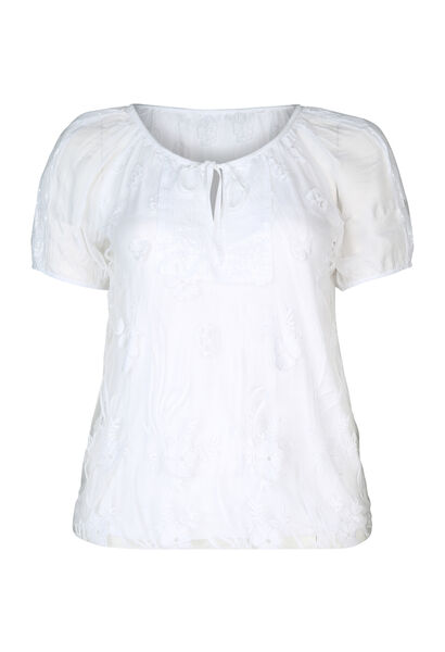 T-shirt en maille dévorée et strass - Blanc