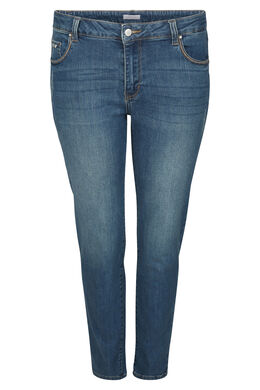 Jeans straight 7/8 détails broderies, Denim