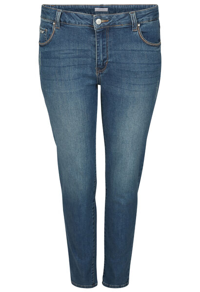 Jeans straight 7/8 détails broderies - Denim
