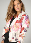 Veste blouson en suédine imprimé fleuri, multicolor
