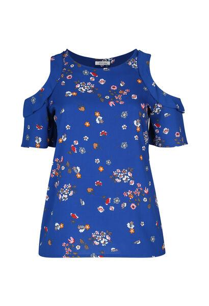 Blouse fleurie épaules ouvertes - Bleu Bic