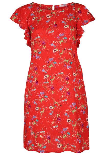 Robe en crêpe imprimé fleurs - Rouge