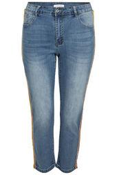 Jeans slim bandes fluo strass
